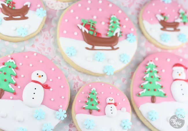 Biscuits décorés boules de neige | Féerie cake