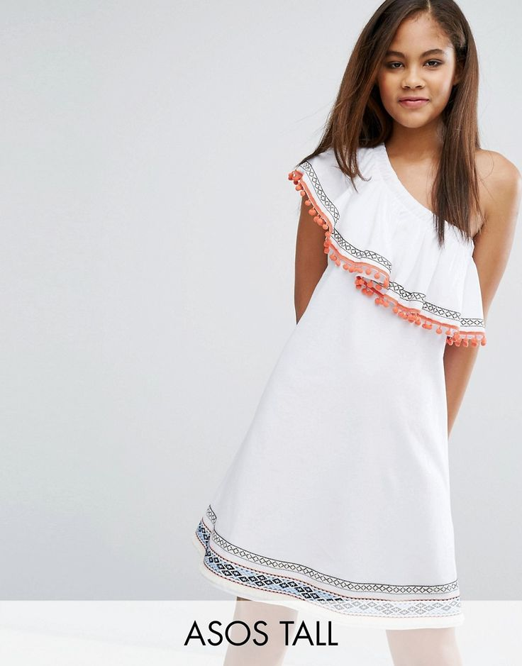 Buy it now. ASOS TALL One Shoulder Sundress with Aztec Trims and Pom Poms - White. Tall dress by ASOS TALL, Lightweight woven cotton, One-shoulder design, Ruffle overlay, Pom-pom trim, Relaxed fit, Machine wash, 100% Cotton, Our model wears a UK 8/EU 36/US 4 and is 180cm/5'11 tall, Mini dress length between: 93-95cm. ABOUT ASOS TALL Find fresh wardrobe wins with our ASOS TALL edit. Raise your sunrise-till-sunset game with occasion dresses, cool separates and jeans that go up to a 38� leg…
