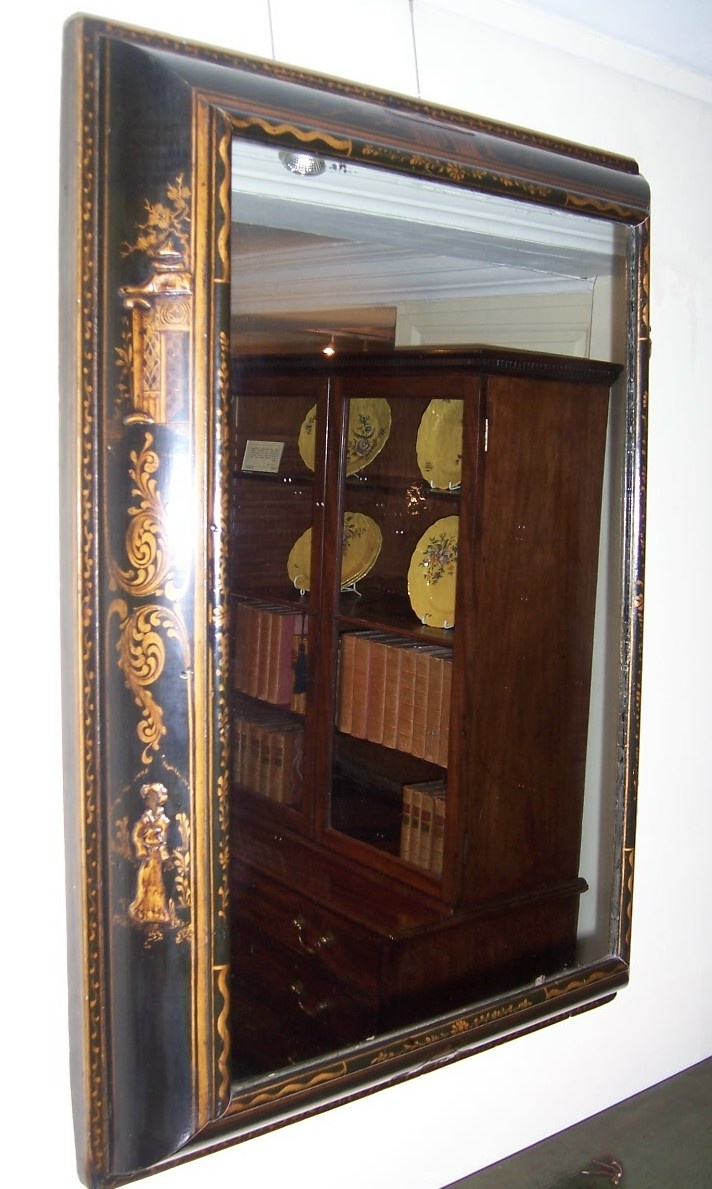 """Black Lacquer Cushion Frame Mirror in the Queen Anne style, circa 1880, 23""""w x 4""""d x 32""""h,  NOW SOLD!, see http://www.domani-devon.com/stock/mirrors/black-lacquer-cushion-frame-mirror-in-the-queen-anne-style"""