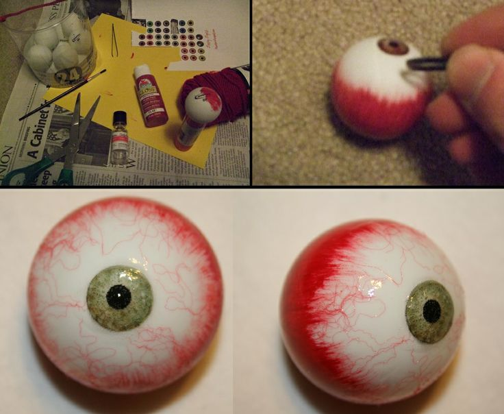 realistic eyeballs created with paint decoupage and yarn fibers applied to ping pong balls - Halloween Ping Pong Balls