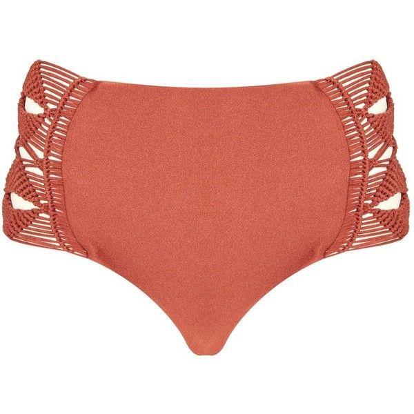 Maia Crochet Side Bikini Bottoms by Flook (84 AUD) ❤ liked on Polyvore featuring swimwear, bikinis, bikini bottoms, rust, crochet bikini bottom, topshop bikini, topshop swimwear, mid rise bikini bottoms and crochet bikini
