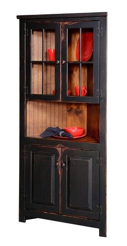 Primitive Rustic Corner Cabinet Pantry Country Kitchen Cottage Furniture Glass | eBay