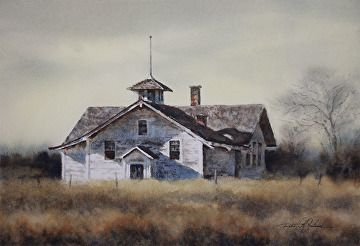 "old town hall by Robert McFarland Watercolor ~ 9"" x 14"""