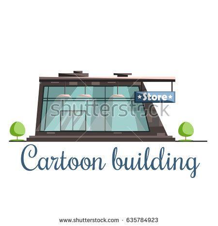 Cartoon building shop , store, beauty cartoon illustration