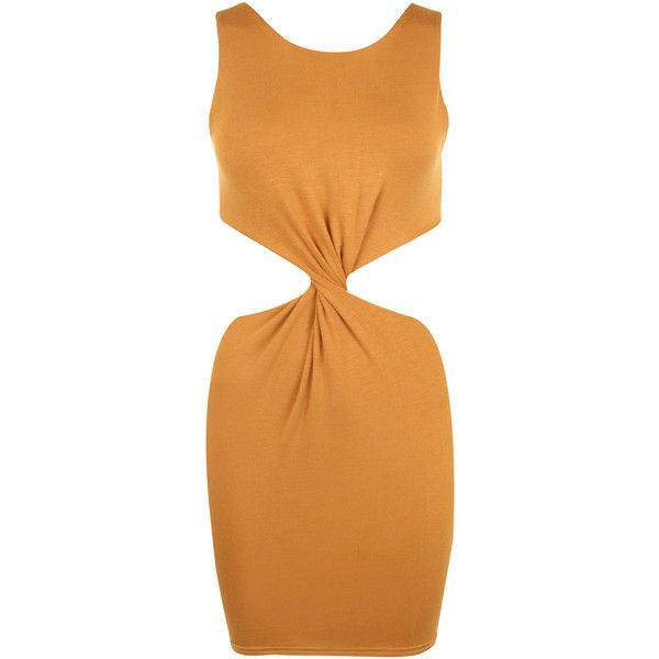 Alisha Cut Out Bodycon Dress (230 ZAR) ❤ liked on Polyvore featuring dresses, vestidos, mustard, form fitting dresses, mustard dress, beige bodycon dress, beige dress and beige cocktail dress
