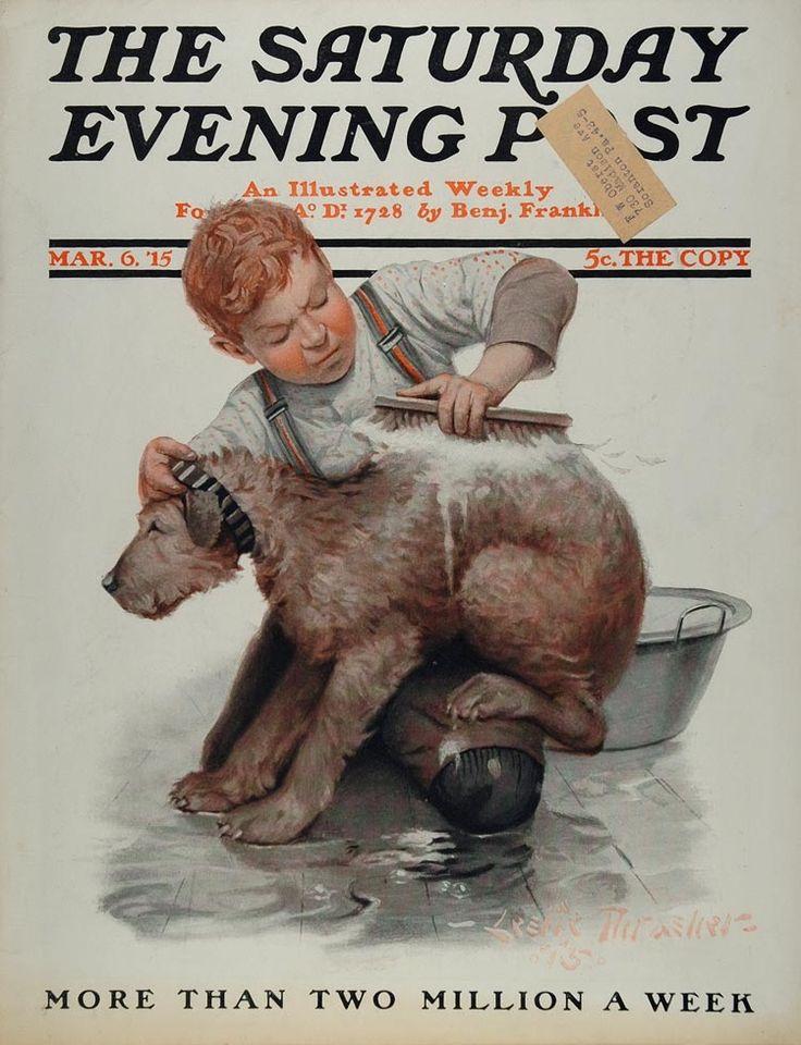 dog bath image | 1915 SEP Cover Boy Washing Dog Bath Leslie Thrasher - ORIGINAL