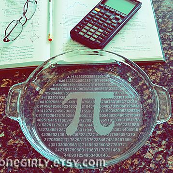 Let them have their Pi and eat it too!This would make a fabulous teacher appreciation gift. Is there a nerd in need of a graduation gift? Can't figure out what to get for that mathlete couple for their wedding? Mathematics teacher retirement party? Get them a PI plate! We can customize this with more math ideas as you would like. This listing shows the symbol for pi (π) with the 3.14..... filling up the rest of the background.Buy it for pi day 3-14© 2013 Pi Please Pie Plate 1-955532584 En...