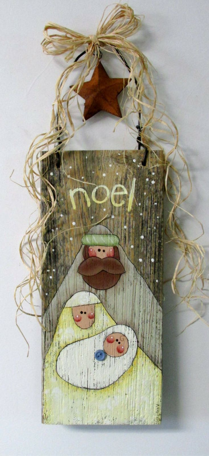 Hand Painted Nativity Scene on Barn Wood, Folk Art Nativity, Rustic Nativity, Rustic Christmas sign, Reclaimed Wood, Noel Sign, Christmas Sign, Mary, Joseph, and Baby Jesus, Christmas decor #ad