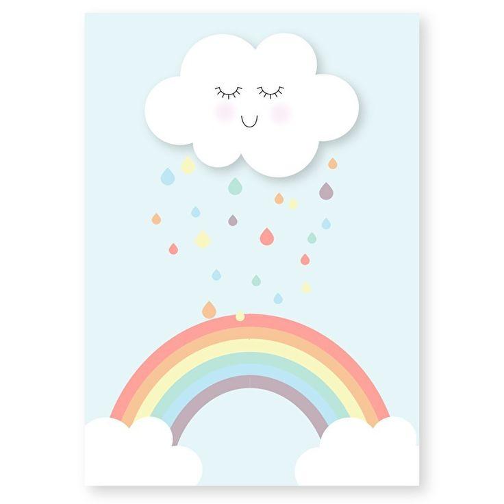 Ansichtkaart Wolk en regenboog. Lief kaartje om op te sturen maar ook heel decoratief in een lijstje of met stukje washitape opgeplakt in bijvoorbeeld de kinderkamer.