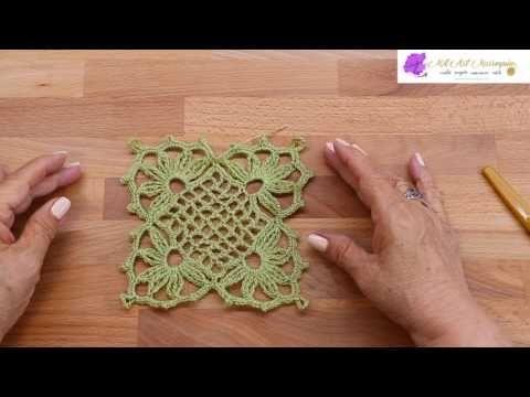 Bufanda o chalina en punto rombos filigranas tejido a Crochet tallermanualperu - YouTube