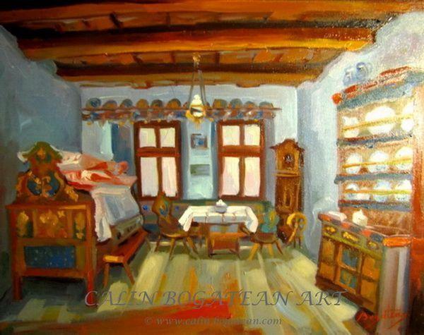 Interior săsesc peisaj în ulei pictură pe pânză peisagistică realistă hiperrealistă pe pânză picturi executate de pictorul comtemporan Călin Bogătean membru al Uniunii Artistilor Profesionisti din Romania. Peisaje originale unicat Interior țărănesc săsesc