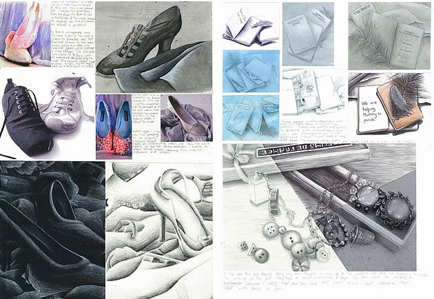 Two meticulously executed and skilful pages by Georgia Shattky, Year 11: observational drawings completed in a range of mediums.