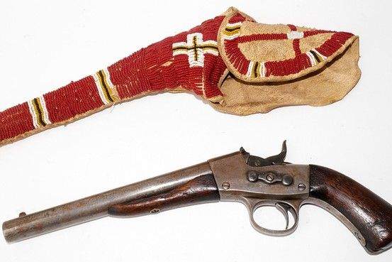 Remington rolling Block Pistol and Shoshone Bead-decorated Holster.