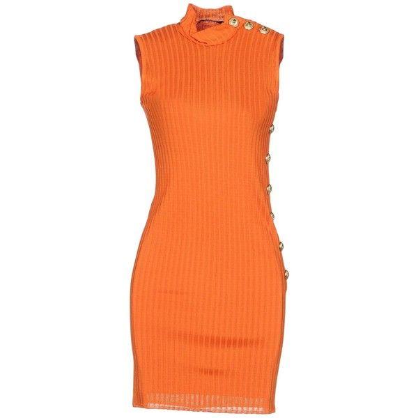 Balmain Short Dress ($1,200) ❤ liked on Polyvore featuring dresses, orange, short orange dress, sleeveless turtleneck tops, orange mini dress, balmain dress and orange dresses