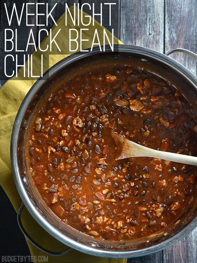 Black Bean Chili *personal note: Great easy base. Added a bell pepper and used pintos and kidney beans that were on hand instead. Was a great leftover!*