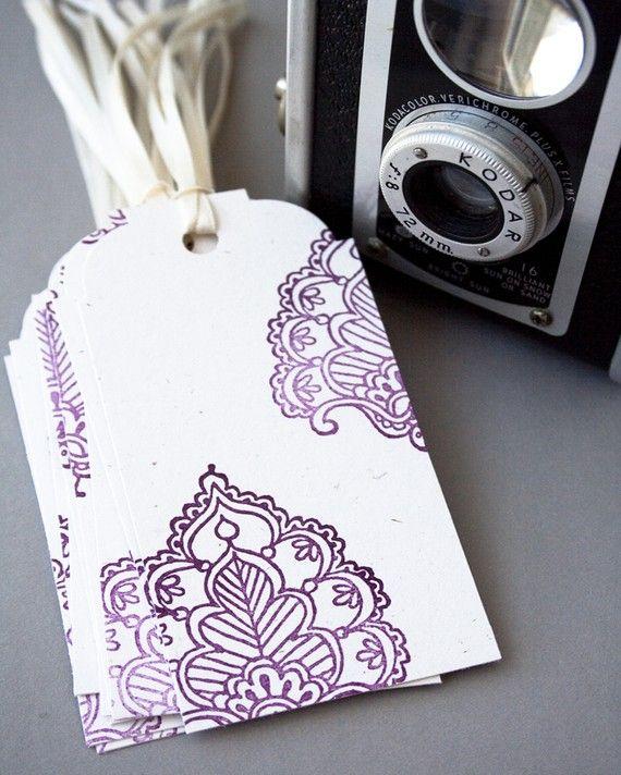 Sari Gift Tags Indian Pattern Wine Tags by ariandmayadesigns, $5.00