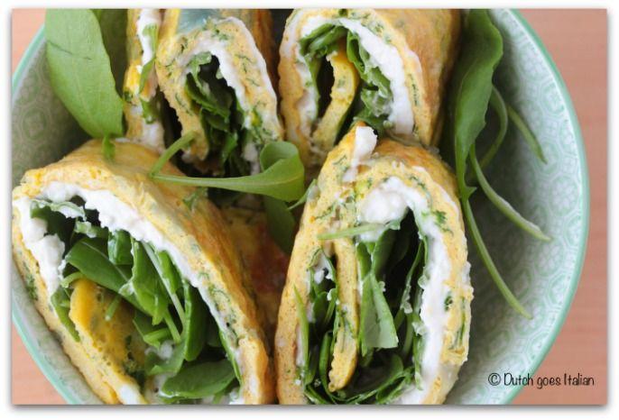 Vegetarische omelet rolletjes - Eten Volgens Mij