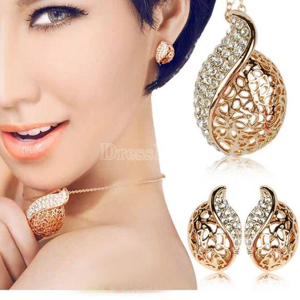 Hueco plateado oro de las mujeres hacia fuera Hoja Collar / pendientes Crystal Set