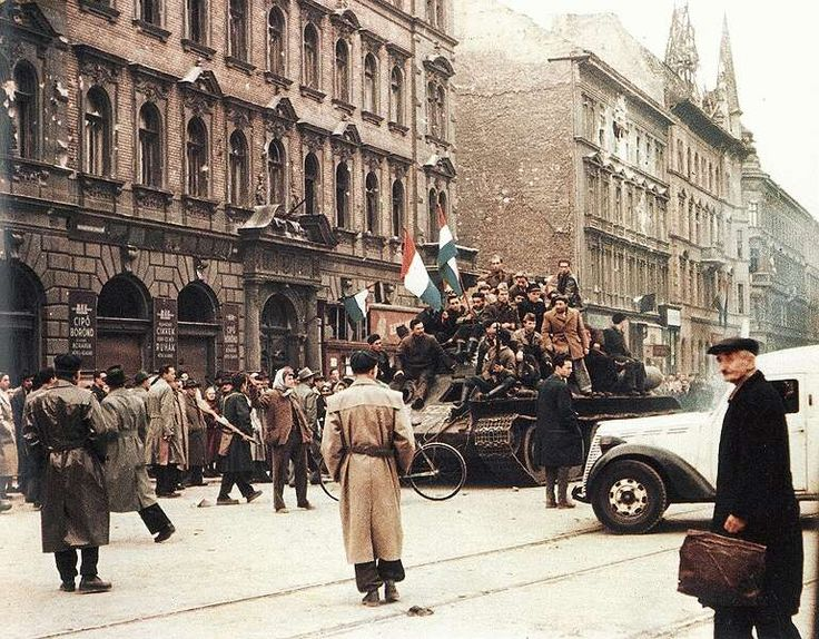 The Hungarian Revolution of 1956 ― A spontaneous nationwide revolt against the government of the People's Republic of Hungary and its Soviet-imposed policies, lasting from 23 October until 10 November 1956. The revolt began as a student demonstration which attracted thousands as it marched through central Budapest to the Parliament building. A student delegation entering the radio building in an attempt to broadcast its demands was detained.