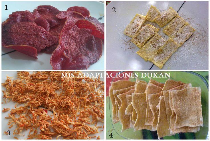 Picoteo Dukan I, apto para todas las fases sin tolerados: cecina crujiente, chips de tofu, surimi crujiente y chips de surimi.