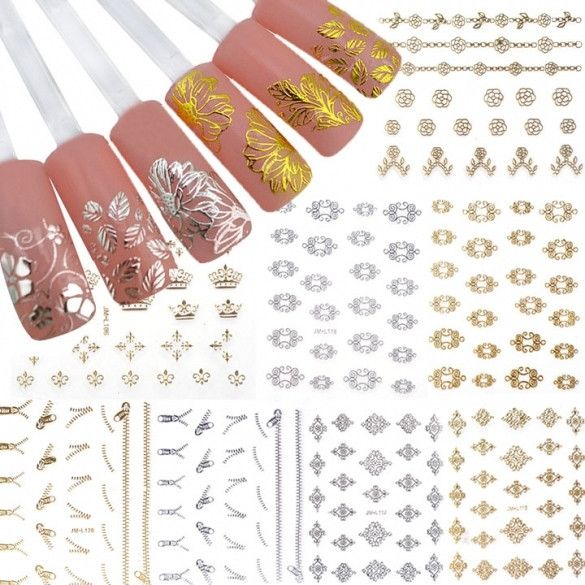 New 12 Sheets Pretty 3D Flower Nail Stickers Manicure Decals Nail Art DIY