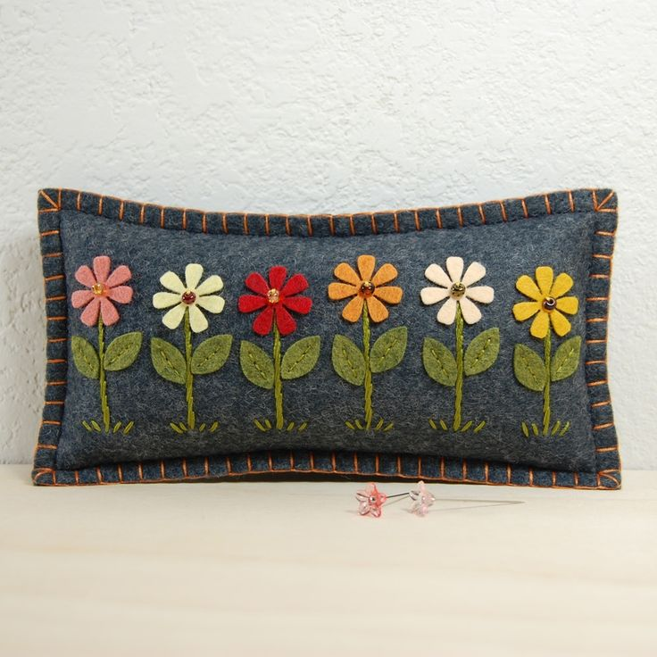 Daisy Garden Wool Felt Pincushion | by TheBlueDaisy