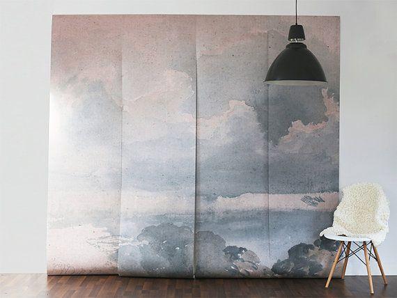 EN VENTE. Panthère mur peinture murale, papier peint Scene de ciel, nuages scène - 100 « x 96 »