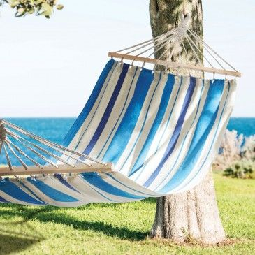 HAMMOCK CANVAS STRIPE  - AQUA Morgan & Finch