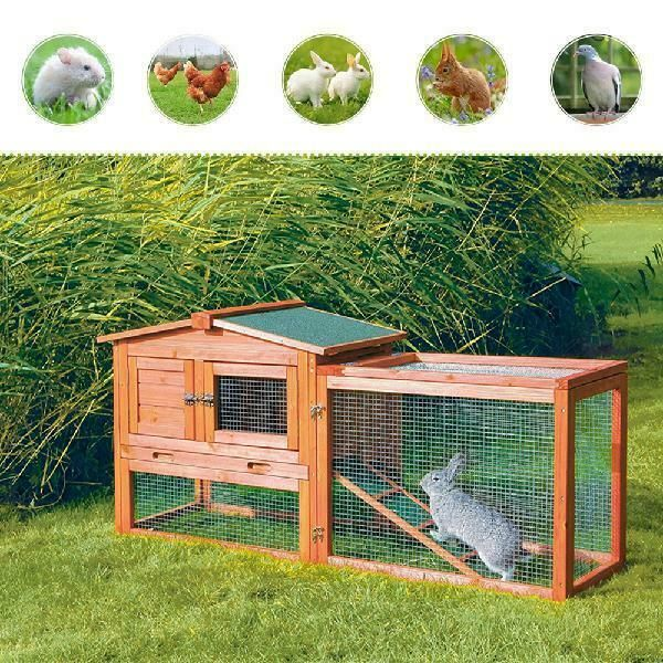 Wooden Chicken Coop Rabbit Hutch Outdoor 2-Tier with Removable Tray and Openable Door for Small Pet Red Hen House Bunny Cage