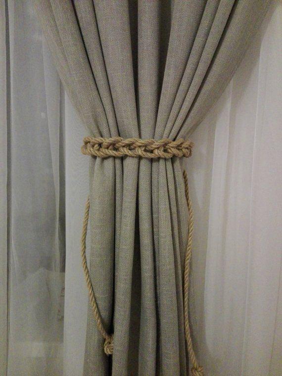 Jute Curtain Tie Backs Rustic Home Decor Rope Curtain Tiebacks