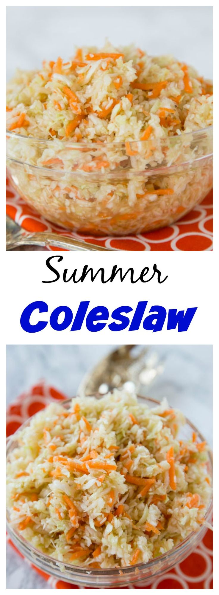 Summer Coleslaw – light and tangy  no mayo coleslaw recipe that you can make all summer long!