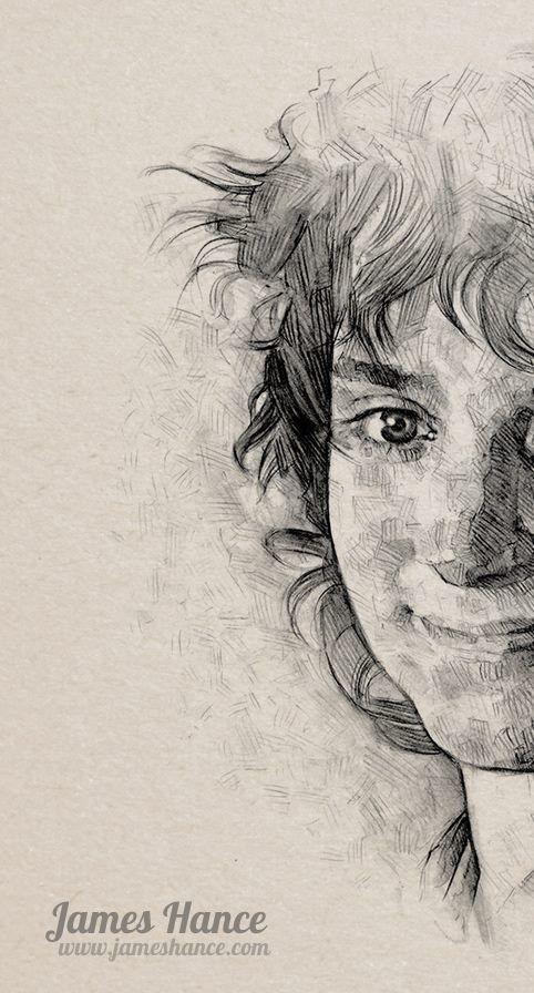 Beautiful drawing of Frodo. Kudos to the fabulous artist.