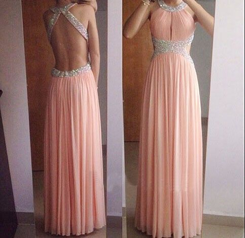 Blush Pink Backless Halter Long Party Dress With Beadings on Luulla