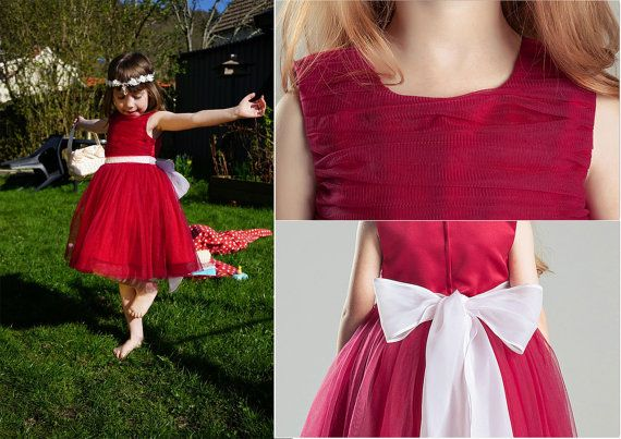 Burgundy Flower Girl Dress/ Fully Breathabel Cotton by BridalDebut