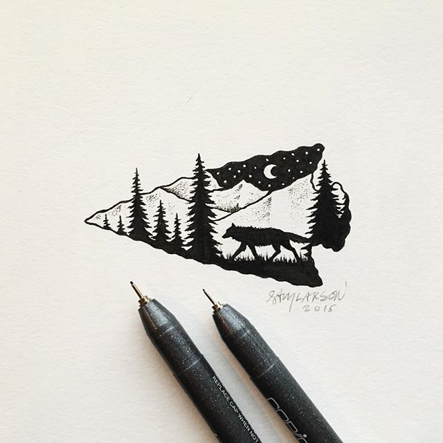 Not very happy with that tree on the right side but drew this little guy today…