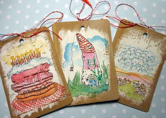 Set of three doodled gift tags-original by cukipokshop on Etsy