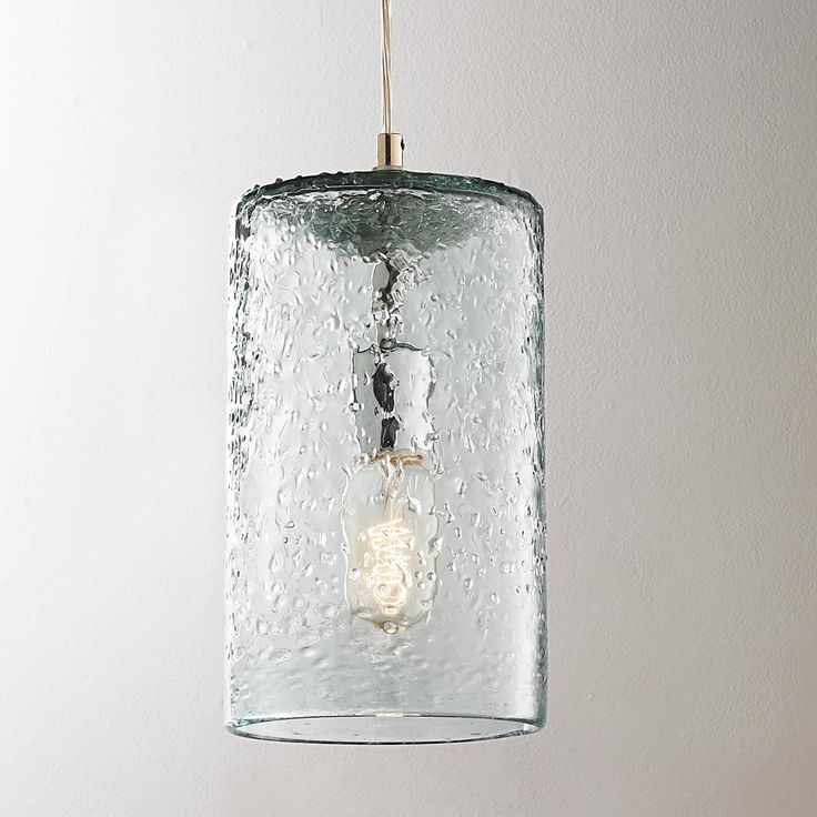 Pebbled glass cylinder pendant pendants hardware and glass - Clear glass pendant lighting kitchen ...