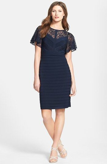 Adrianna Papell Flutter Sleeve Banded Dress available at #Nordstrom