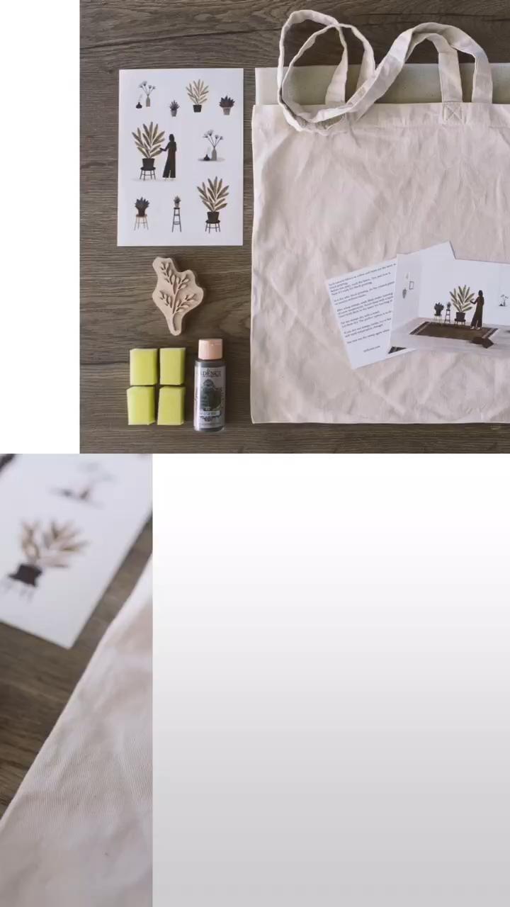 Diy Kit Block Printing Bag Craft Kit For Adults Fabric Stamp Pdf Tutorial Stress Relief Video In 2020 Fabric Stamping Craft Supplies Craft Kits