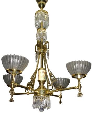 4 arm aesthetic eastlake electrified gas chandelier w porcelain u0026 prisms antique light - Antique Light Fixtures