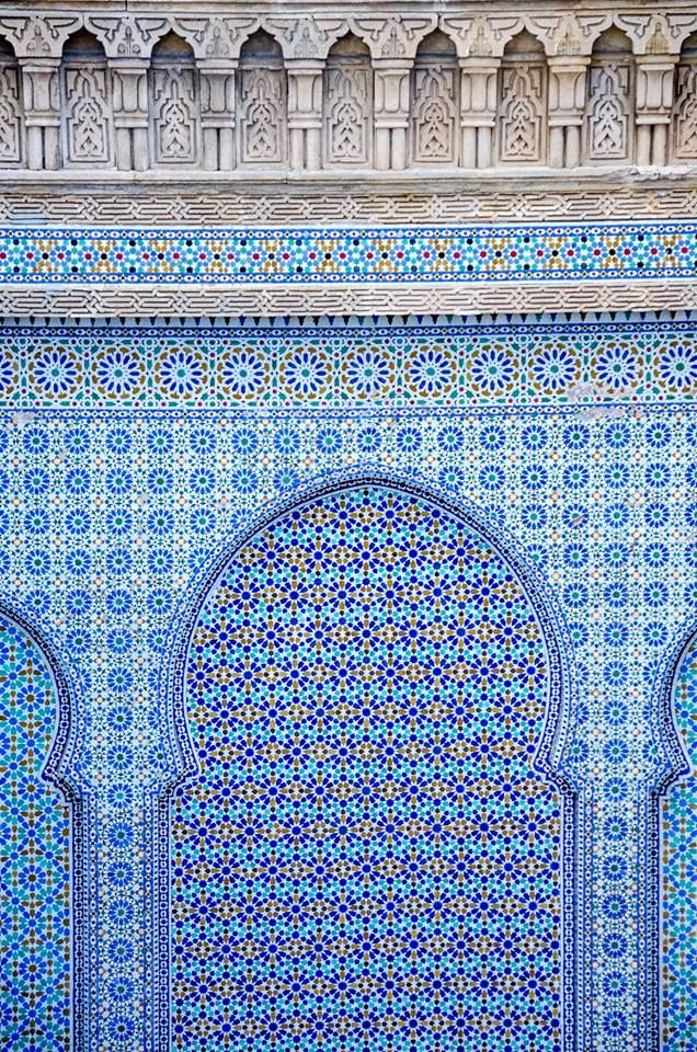 Blue mozaic on the wall in #Morocco