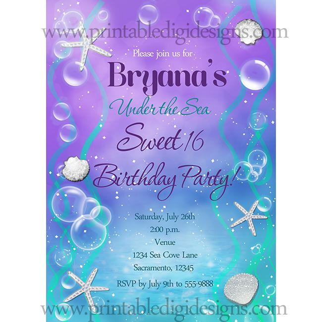 Under The Sea Sweet 16 Birthday Party Custom Invitation
