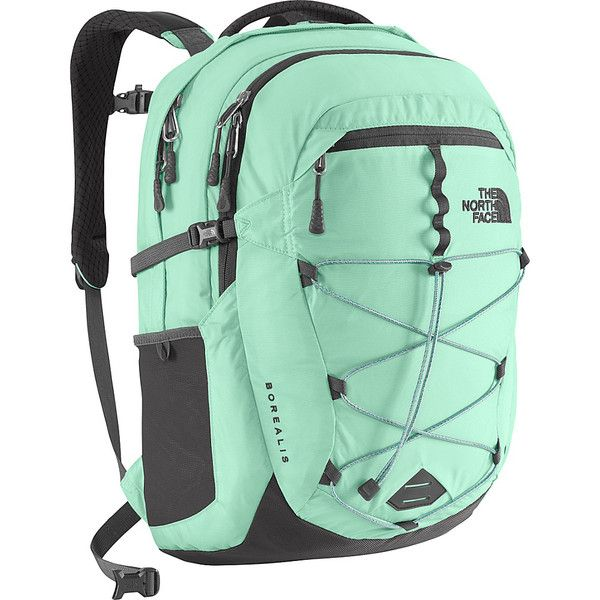 The North Face Women's Borealis Laptop Backpack ($89) ❤ liked on Polyvore featuring bags, backpacks, green, laptop backpacks, green backpack, mesh bag, laptop rucksack, padded laptop bag and the north face daypacks