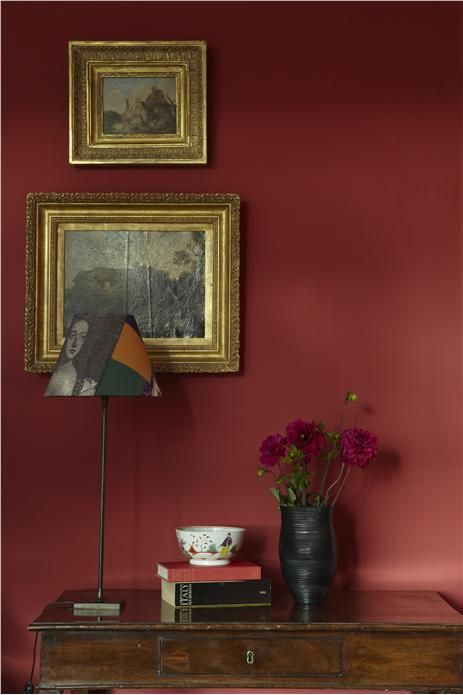 "Two words: Rich and Luxurious.  This is Farrow and Ball's ""Incarnadine"". [An inspirational image from Farrow and Ball]"