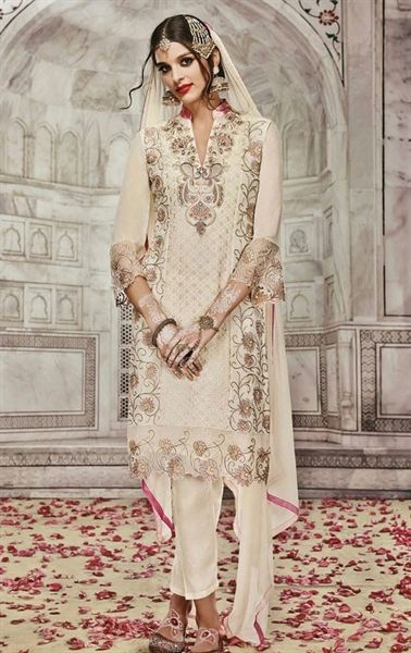 Attractive Beige Indian Churidar Salwar Kameez