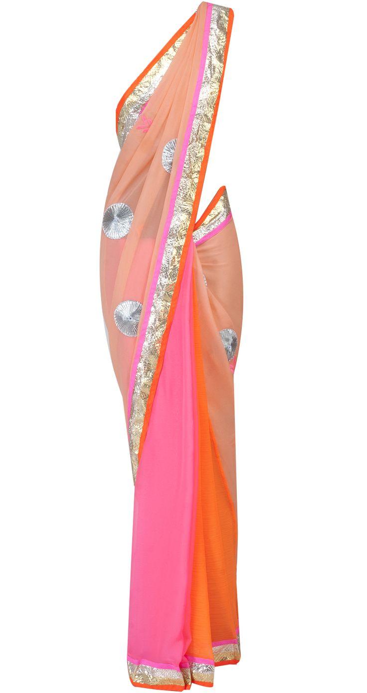 Peach and neon pink colour block sari by AYINAT BY TANIYA O'CONNOR. Shop at http://www.perniaspopupshop.com/whats-new/ayinat-by-taniya-o-connor