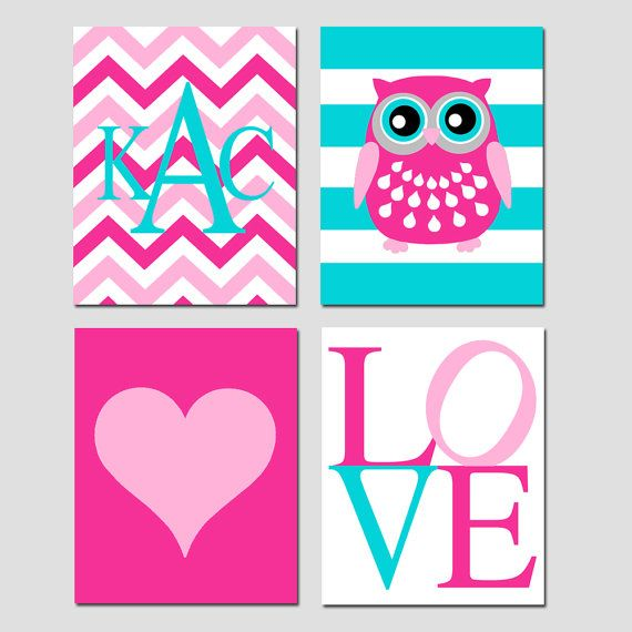 Baby Girl Nursery Art Quad - Set of Four 8x10 Prints - Striped Owl, LOVE, Chevron Monogram Initial, Simple Heart - Choose Your Colors