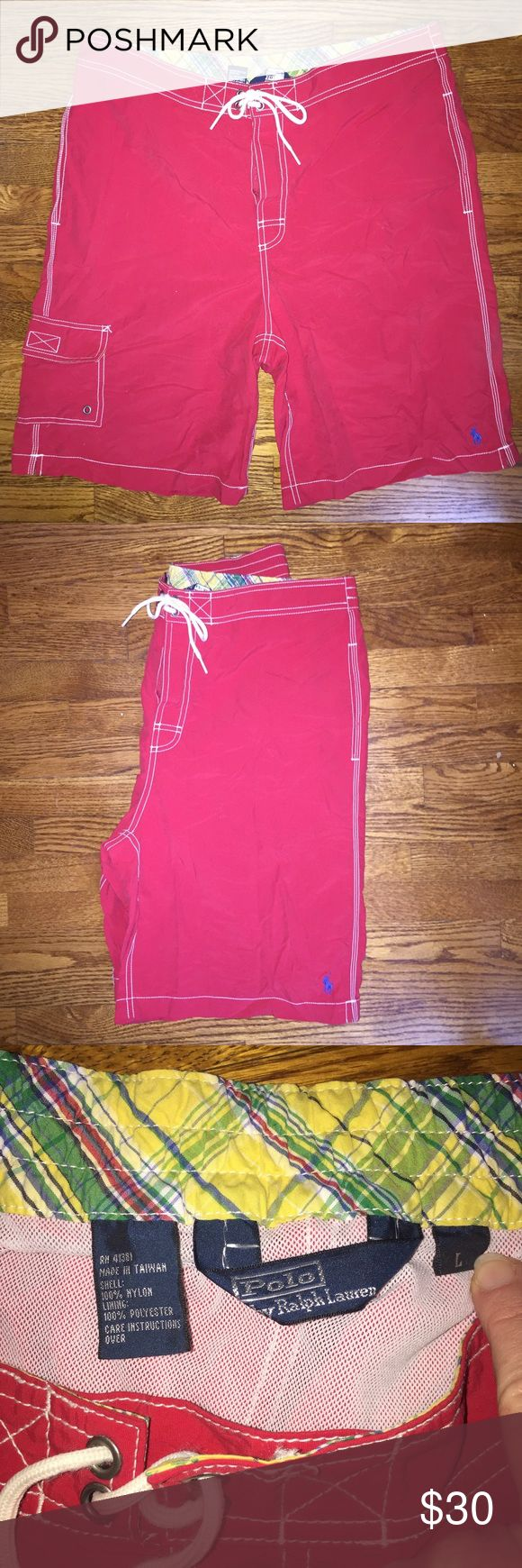 Polo by Ralph Lauren swim suit/board shorts.Size L Polo by Ralph Lauren swim suit/board shorts...red...Size L...no rips, stains or snags...from a smoke free home! Polo by Ralph Lauren Swim Board Shorts