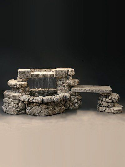 Rainbow Falls Outdoor Water Fountain With Bench
