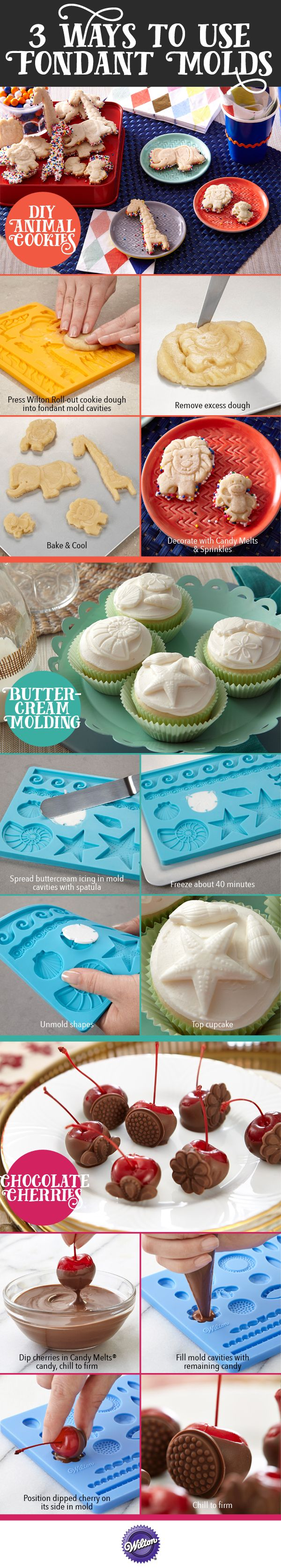 Are you a fondant expert? Not a fan of the stuff? Not even sure what it is? None of that matters with these three unique ways to use a fondant mold!  You can use Candy Melts candy, cookie dough and buttercream icing to make some phenomenal molded treats.